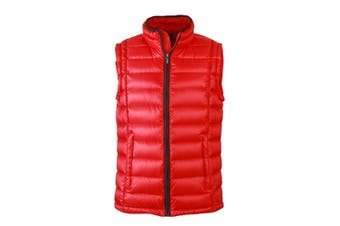 James and Nicholson Mens Quilted Down Vest (Red/Black) (XL)