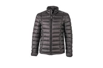 James and Nicholson Mens Contrast Quilted Down Jacket (Black/Black) (S)