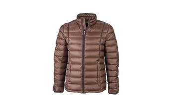 James and Nicholson Mens Contrast Quilted Down Jacket (Coffee/Black) (L)