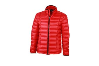 James and Nicholson Mens Contrast Quilted Down Jacket (Red/Black) (XL)