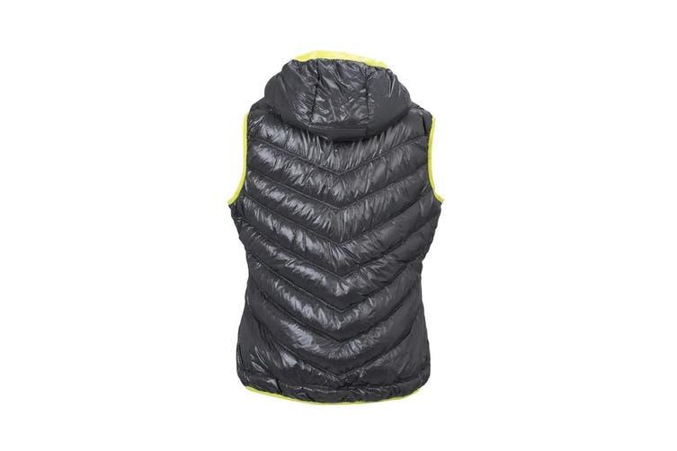 James and Nicholson Women/Ladies Down Vest (Carbon Grey/Acid Yellow) (L)