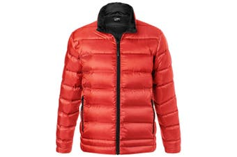 James and Nicholson Mens Quilted Down Jacket (Flame Red/Black) (3XL)