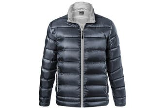 James and Nicholson Mens Quilted Down Jacket (Navy/Silver) (XL)