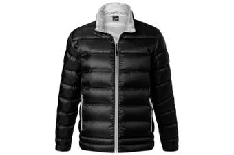 James and Nicholson Mens Quilted Down Jacket (Black/Silver) (L)