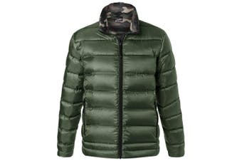 James and Nicholson Mens Quilted Down Jacket (Olive Green/Green Camouflage) (3XL)