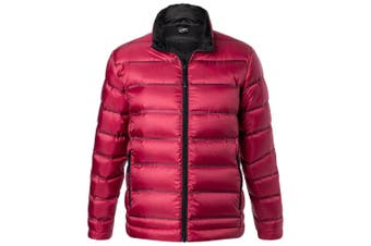 James and Nicholson Mens Quilted Down Jacket (Red/Black) (S)
