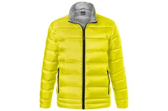 James and Nicholson Mens Quilted Down Jacket (Yellow/Silver) (XXL)