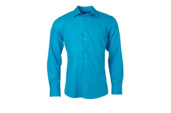 James and Nicholson Mens Longsleeve Poplin Shirt (Turquoise) - UTFU774
