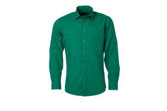 James and Nicholson Mens Longsleeve Poplin Shirt (Irish Green) - UTFU774