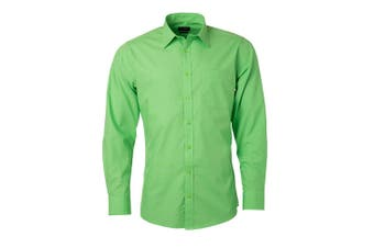 James and Nicholson Mens Longsleeve Poplin Shirt (Lime Green) - UTFU774