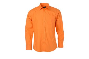 James and Nicholson Mens Longsleeve Poplin Shirt (Orange) - UTFU774