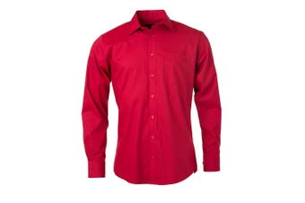James and Nicholson Mens Longsleeve Poplin Shirt (Red) - UTFU774