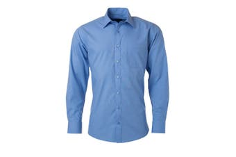 James and Nicholson Mens Longsleeve Poplin Shirt (Aqua Blue) - UTFU774