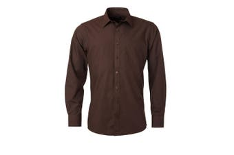 James and Nicholson Mens Longsleeve Poplin Shirt (Brown) - UTFU774