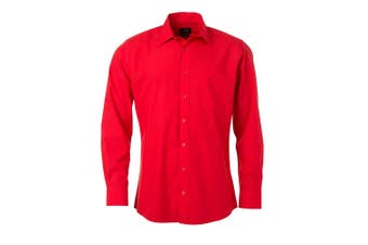 James and Nicholson Mens Longsleeve Poplin Shirt (Tomato Red) - UTFU774