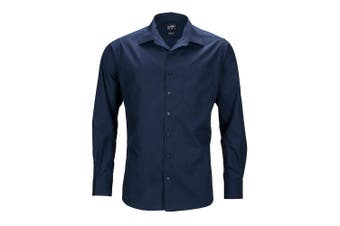 James and Nicholson Mens Longsleeve Business Shirt (Navy) - UTFU783