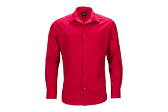 James and Nicholson Mens Longsleeve Business Shirt (Red) - UTFU783