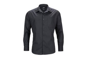 James and Nicholson Mens Longsleeve Business Shirt (Black) - UTFU783