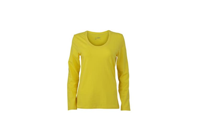 James and Nicholson Womens/Ladies Stretch Long Sleeve T-Shirt (Yellow) (XL)