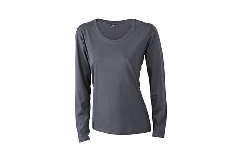 James and Nicholson Womens/Ladies Medium Long-Sleeved T-Shirt (Graphite) (L)