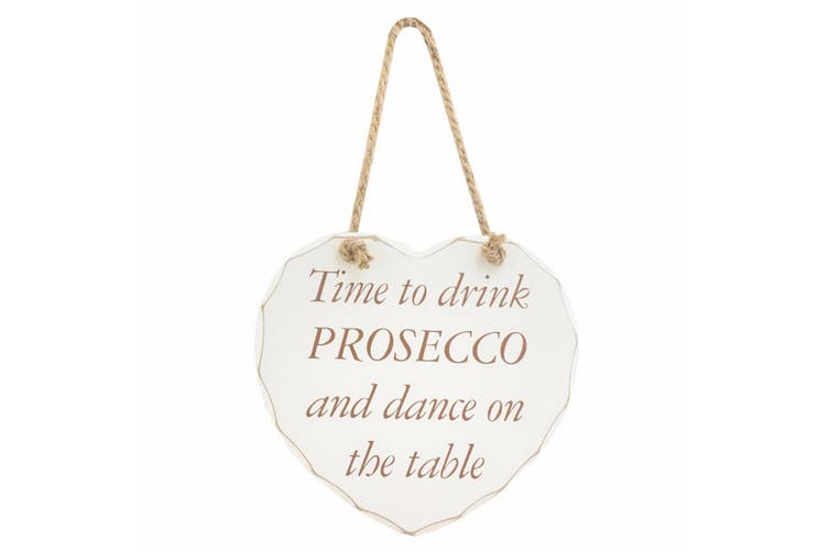 Heart Shaped Drink Prosecco Hanging Wall Plaque (White) (One Size)