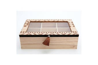 African Print Tea Box (Brown) (One Size)