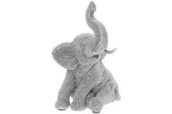 Elephant Sitting Figurine (Silver) (One Size)