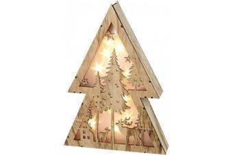 Light Up Wood Christmas Scene (Wood) (21.5 x 30 x 5cm)