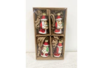 Santa Decoration (Box of 4) (Red/White) (5 x 3cm)