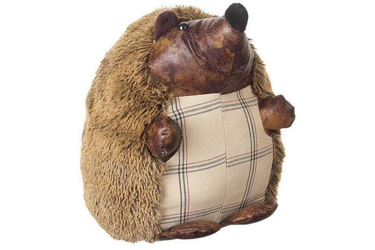 Fuzzy Hedgehog Doorstop (Brown/Cream) (One Size)