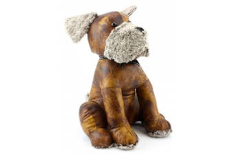 Faux Leather Doggy Doorstop (Brown/Grey) (One Size)