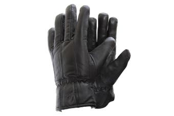 Mens Soft Sheep Skin Genuine Leather Gloves (Black) - UTGL103