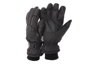 FLOSO Mens Thinsulate Padded Thermal Gloves With Palm Grip (3M 40g) (Black (As Shown)) - UTGL123