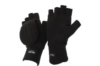 FLOSO Unisex Mens/Womens Thinsulate Thermal Capped Winter Fingerless Gloves (3M 40g) (Black) (One Size)