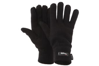 FLOSO Mens Thermal Thinsulate Knitted Winter Gloves (3M 40g) (Black) (One Size)