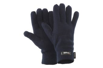 FLOSO Mens Thermal Thinsulate Knitted Winter Gloves (3M 40g) (Navy) (One Size)