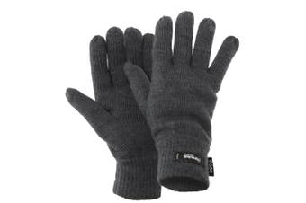 FLOSO Mens Thermal Thinsulate Knitted Winter Gloves (3M 40g) (Grey) (One Size)