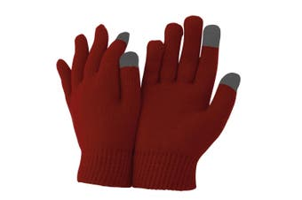 FLOSO Unisex Mens/Womens IPhone/iPad Mobile Touch Screen Winter Magic Gloves (Oxblood) (One size)