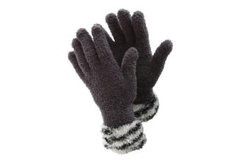 FLOSO Ladies/Womens Fluffy Extra Soft Winter Gloves With Patterned Cuff (Grey/White) (One Size)