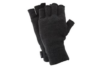 FLOSO Mens Thinsulate Thermal Fingerless Gloves (3M 40g) (Charcoal) (One Size Fits All)