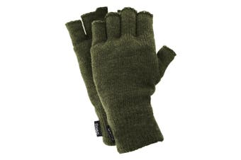 FLOSO Mens Thinsulate Thermal Fingerless Gloves (3M 40g) (Olive) (One Size Fits All)