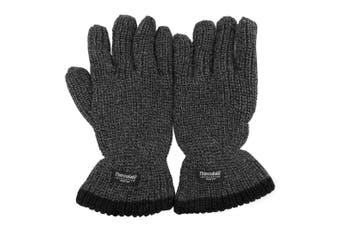 Mens Thinsulate Heavy Knit Fisherman Thermal Gloves (3M 40g) (Grey) (One Size)
