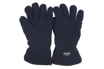 Mens Thinsulate Heavy Knit Fisherman Thermal Gloves (3M 40g) (Navy) (One Size)