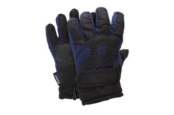 FLOSO Kids/Childrens Extra Warm Thermal Padded Ski Gloves With Palm Grip (Navy/Black) (4-8 years)