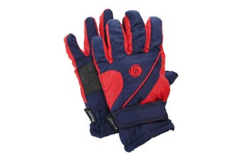 FLOSO Kids/Childrens Extra Warm Thermal Padded Ski Gloves With Palm Grip (Navy/Red) (9-12 years)