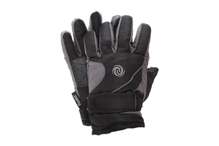 FLOSO Kids/Childrens Extra Warm Thermal Padded Ski Gloves With Palm Grip (Grey/Black) (9-12 years)