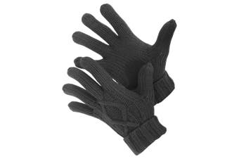 Mens Cable Knit Winter Gloves (Charcoal) (M/L)