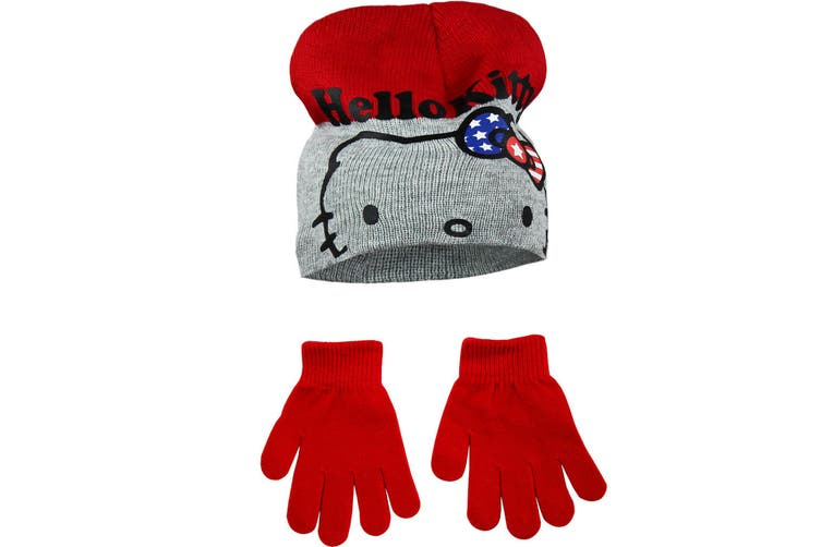 Hello Kitty Childrens Girls Winter Hat And Gloves Set (Red/Grey) (52cm)