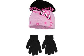 Hello Kitty Childrens Girls Winter Hat And Gloves Set (Black/Pink) (52cm)