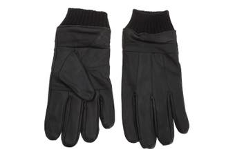 Tom Franks Mens Leather Gloves With Knitted Cuff (Black) - UTGL640